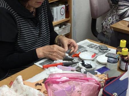 コバ磨き レザークラフト教室 革工芸教室