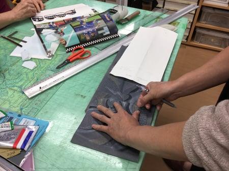 ポシェット柄合わせ レザークラフト教室 革工芸教室