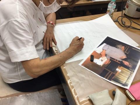 図案作り(人物)レザークラフト教室 革工芸教室