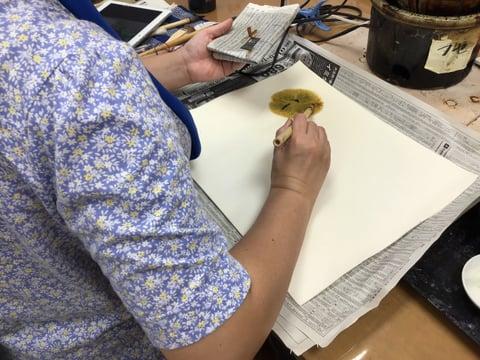 ろうけつ染めお花 レザークラフト教室 革工芸教室