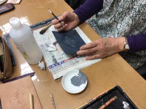 レザークラフト教室 革工芸教室 バッグワンポイント