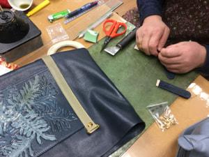 レザークラフト教室 革工芸教室 袋物仕立