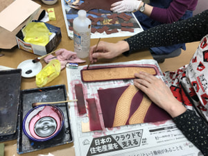 ペンケース染色 レザークラフト教室 革工芸教室