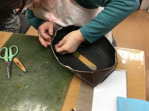 ティッシュボックス レザークラフト教室 革工芸教室