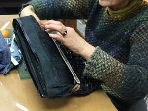 石畳編みバッグ レザークラフト教室 革工芸教室