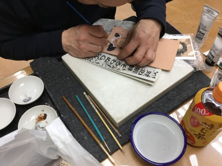フィギャカービング染色 レザークラフト教室 革工芸教室