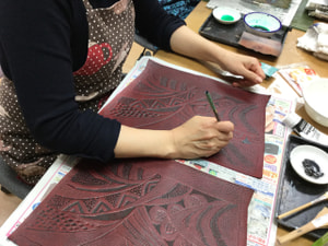モデリング染色 レザークラフト教室 革工芸教室
