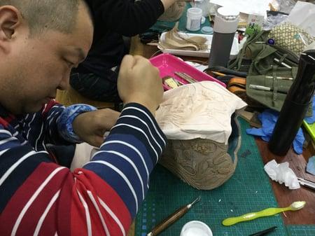 立体造形模様付け−7 レザークラフト教室 革工芸教室