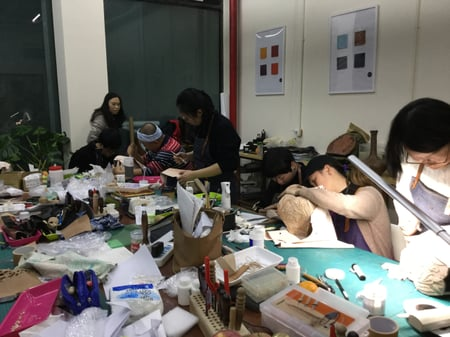 立体造形模様付け−8 レザークラフト教室 革工芸教室