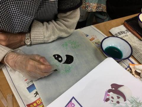 ろうけつ染パンダ レザークラフト教室 皮工芸教室