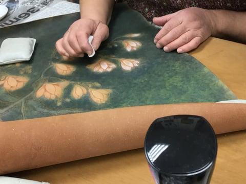 革絵染色 レザークラフト教室 革工芸教室