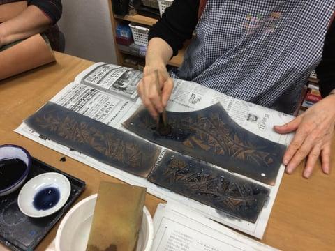 バッグ染色中 レザークラフト教室 革工芸教室