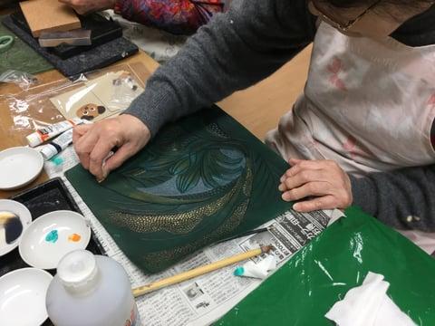 ショルダー冠染色 レザークラフト教室 革工芸教室