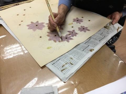 花の染色(鉄扇)レザークラフト教室 革工芸教室