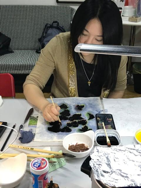 バックグラウンドを染める レザークラフト教室 革工芸教室