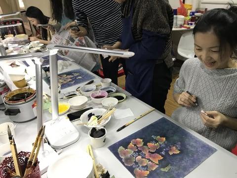 鶴を描く レザークラフト教室 革工芸教室
