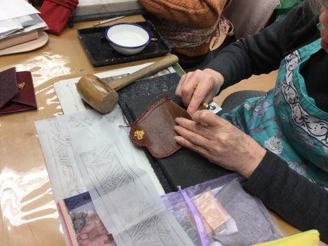小物のホック付け レザークラフト教室 革工芸教室