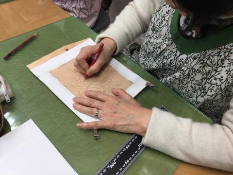 薔薇の絵 レザークラフト教室 革工芸教室