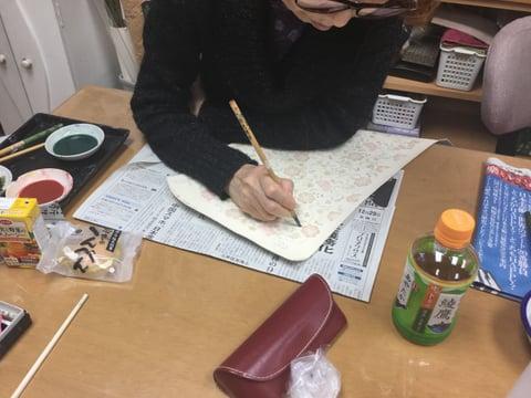 手描き更紗 レザークラフト教室 革工芸教室