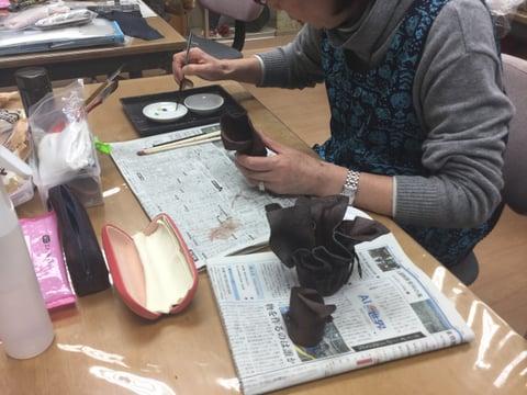 柿渋染め レザークラフト教室 革工芸教室
