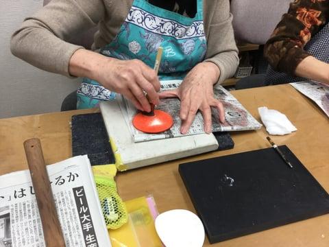 お雛様染色5 レザークラフト教室 革工芸教室