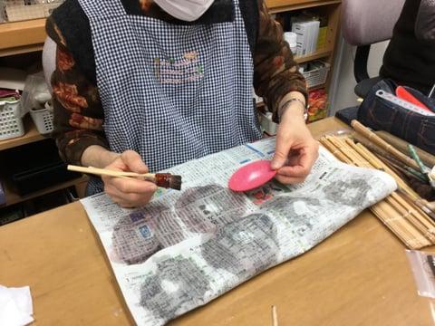 お雛様染色4 レザークラフト教室 革工芸教室
