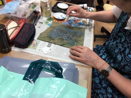 バッグ染色 レザークラフト教室 革工芸教室