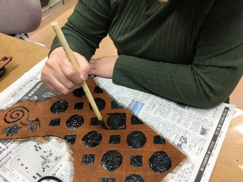 ろうけつ染基本 レザークラフト 教室 革工芸教室