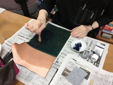 アクリルカラー レザークラフト教室 革工芸教室