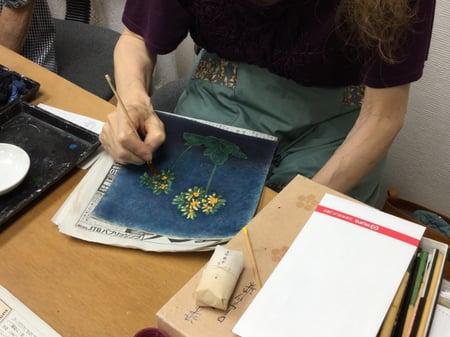 ろうけつ染め小花 レザークラフト教室 革工芸教室