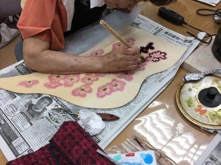 ろうけつ染め花水木 レザークラフト教室 革工芸教室