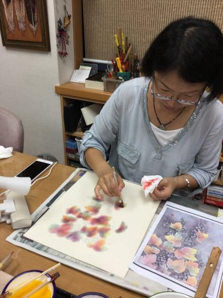 葉の染色 レザークラフト教室 革工芸教室