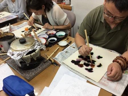 葉の蝋置き レザークラフト教室 革工芸教室