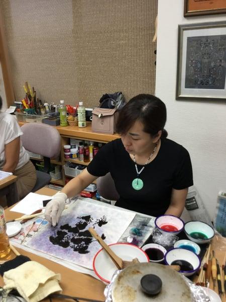 バックグラウンド染色 レザークラフト教室 革工芸教室