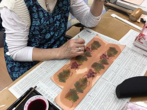 ゴート染色 レザークラフト教室 革工芸教室