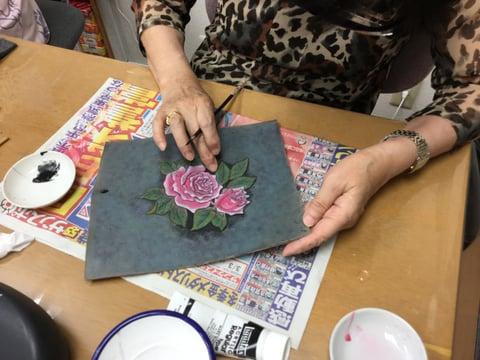 革絵・薔薇 レザークラフト 教室 革工芸教室