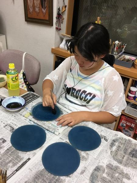 持ち手染色 レザークラフト教室 革工芸教室