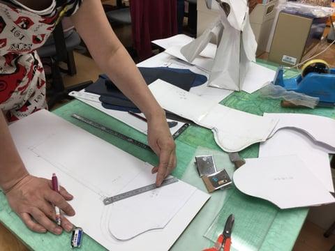 バッグ型紙作り レザークラフト教室 革工芸教室