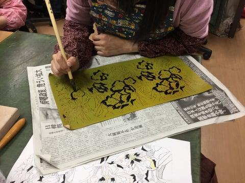 ろうけつ染防染 レザークラフト教室 革工芸教室