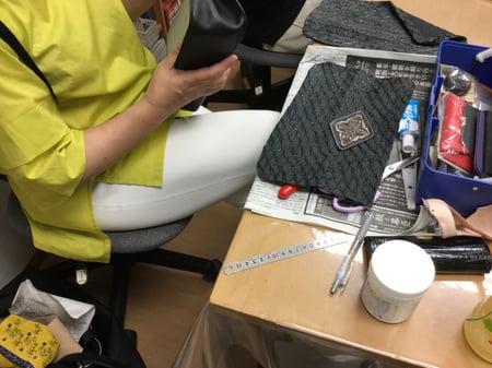 バッグ仕上  レザークラフト教室 革工芸教室