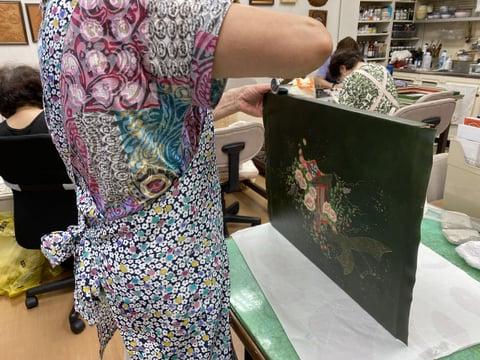 革絵パネル貼り レザークラフト教室 革工芸教室