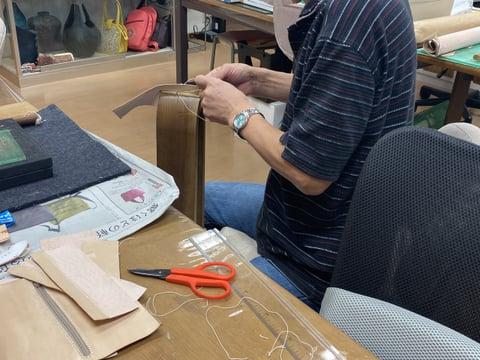 長財布仕立て レザークラフト教室 革工芸教室