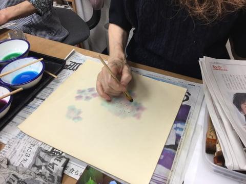 ろうけつ染 額紫陽花 レザークラフト教室 革工芸教室