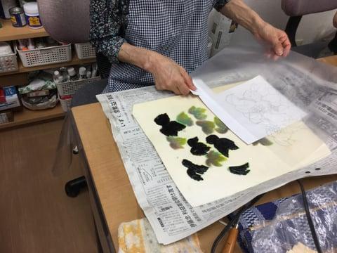 ろうけつ染 野葡萄 レザークラフト教室 革工芸教室