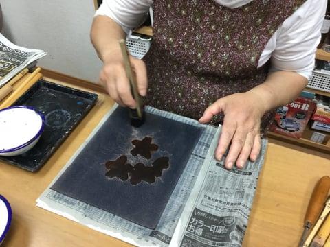 ろうけつ染 姫林檎 レザークラフト教室 革工芸教室