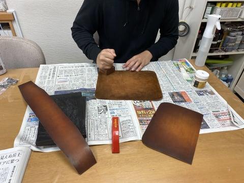 床面磨き レザークラフト教室 革工芸教室