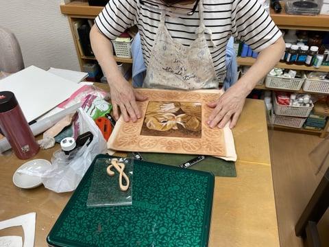 革の額作り レザークラフト教室 革工芸教室