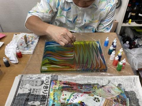 革のマーブル染め レザークラフト教室 革工芸教室
