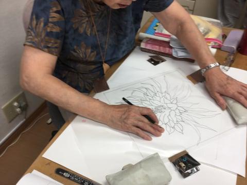 クッション図案 レザークラフ教室 革工芸教室