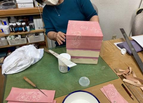 革の3段箱 レザークラフト教室 革工芸教室